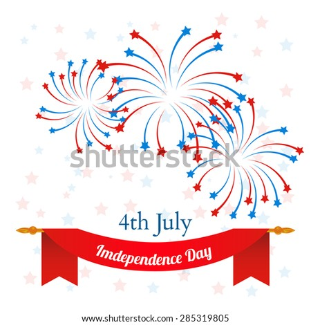 4th of July, American Independence Day celebration background. vector - stock vector