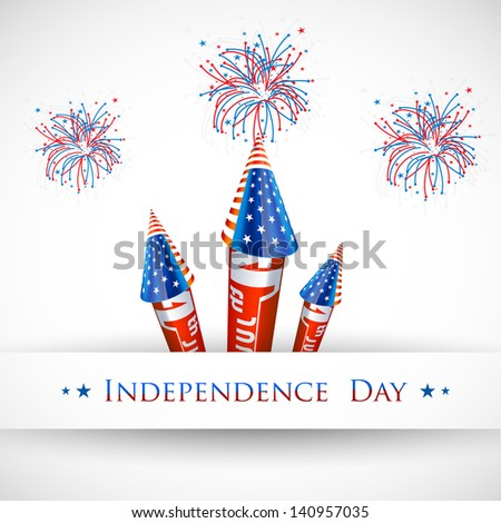 4th of July American Independence Day celebration background with fire crackers. - stock vector
