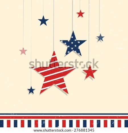 4th of July, American Independence Day celebration greeting card with hanging stars in national flag color. - stock vector