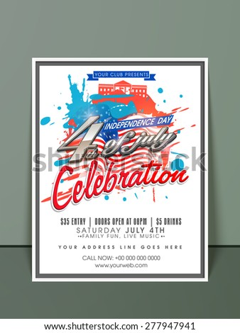 4th of July, American Independence Day celebration invitation card with national flag color splash. - stock vector