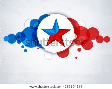 4th of July, American Independence Day celebration sticker, tag or label with star on national flag color abstract background. - stock vector