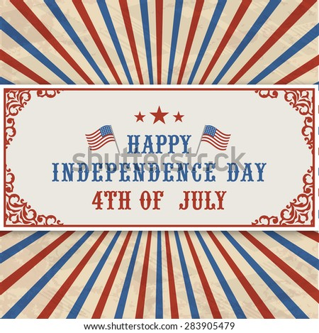 4th of July, American Independence Day celebration web header on vintage rays background. - stock vector