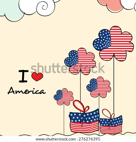 4th of July, American Independence Day celebration with national flag color flowers and gifts on cloudy background. - stock vector