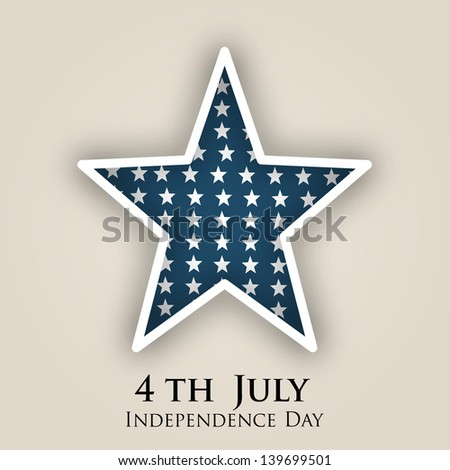 4th of July, American Independence Day concept with star. - stock vector