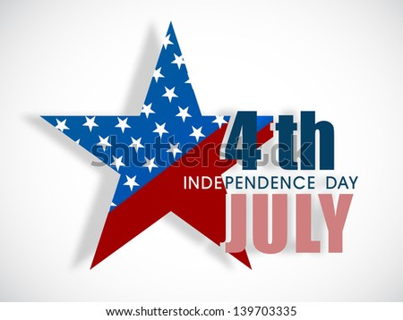 4th of July, American Independence Day concept with star in national flag colors on abstract grey background. - stock vector