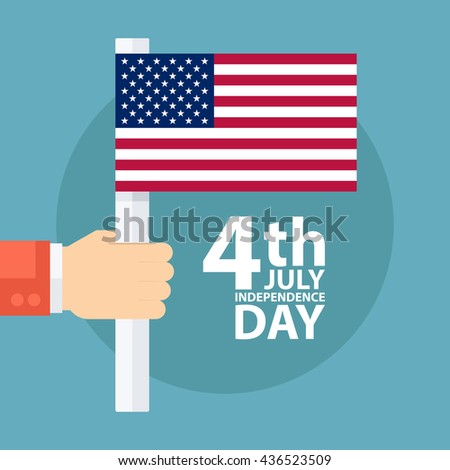 4th of july American independence day greeting card with male hand holding american flag.