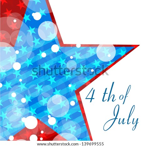 4th of July, American Independence Day grunge concept with star in national flag colors. - stock vector