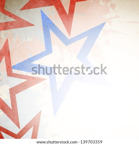 4th of July, American Independence Day grungy concept with red and blue stars. - stock vector