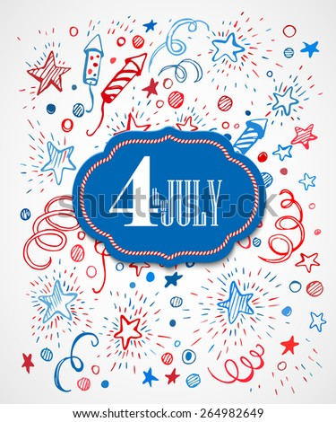 4th of July. American Independence Day. Hand-drawn pattern EPS10 - stock vector