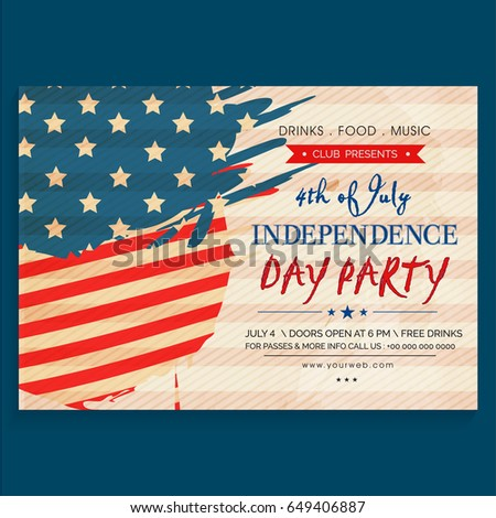 4th july american independence day party em vetor stock 649406887 4th of july american independence day party celebration invitation card design in vintage style stopboris Gallery
