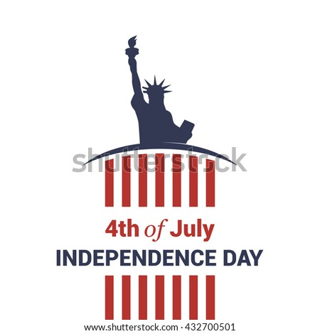4th of July American Independence Day template with Statue of Liberty creative typography with flag