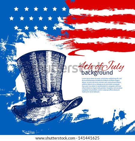 4th of July background with American flag. Independence Day vintage hand drawn design - stock vector