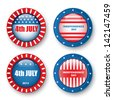 4th of july badges - stock vector