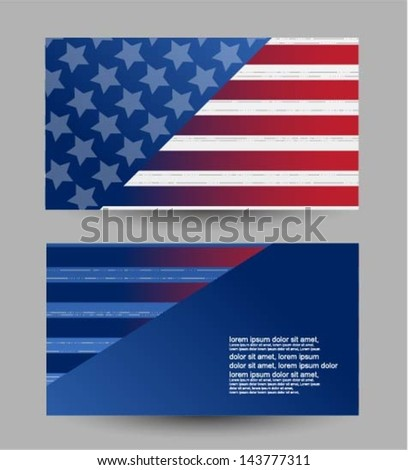4th of july business card - stock vector