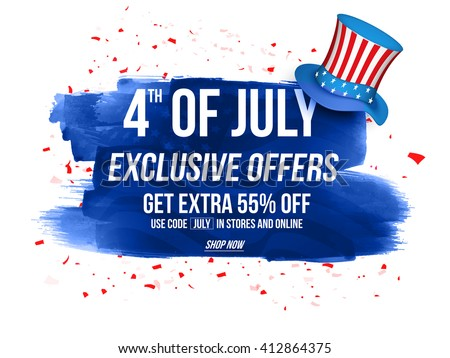 4th of July Exclusive Offers Sale, Sale Poster, Sale Banner, Sale Flyer, Extra Discount Offer, 55% Off, Online Sale. Vector illustration with glossy hat and blue abstract design. - stock vector
