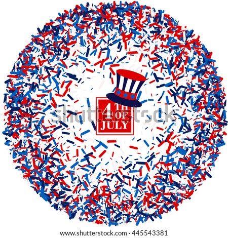 4th of July festive greeting card with top hat in wreath of scatter sawdust  in traditional American colors - red, white, blue. Isolated. - stock vector