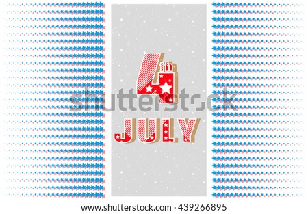 4th of July. Greeting card, banner. Holiday Independence Day July 4th. ?attern of symmetrical radiating star. In the center big bright 4th of July. Space design elements. Vector illustration - stock vector