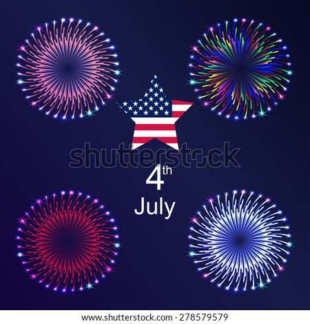 4th of July. Independence Day. Background with fireworks - stock vector