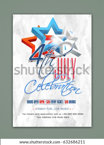 4th of july independence day celebration template banner or flyer design with american flag