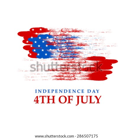 4th of July,  Independence Day celebration with American national flag colors on white background. - stock vector