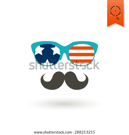 4th of July, Independence Day of the United States, Simple Flat Icon. Sunglasses Vector - stock vector