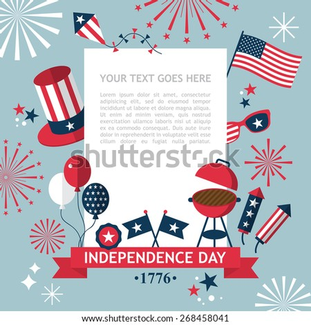 4th of July, Independence Day of the USA, party invitation template - stock vector