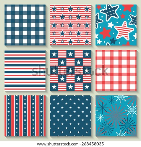 4th of July, Independence Day of the USA, seamless pattern set for design