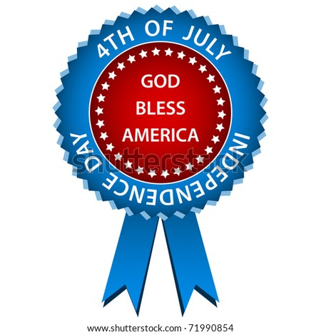 4th of july independence day rosette or badge in american flag colors. Isolated on a white background. Raster also available. - stock vector