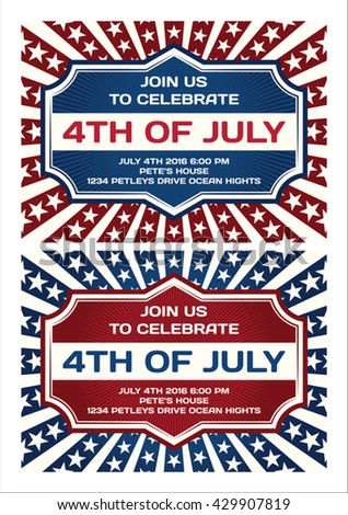 4th of July Invitation Card - stock vector