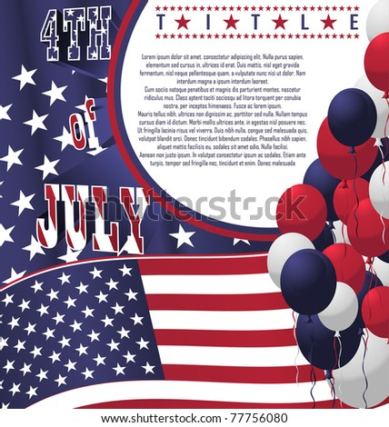 4th of July poster card. Vector Illustration - stock vector