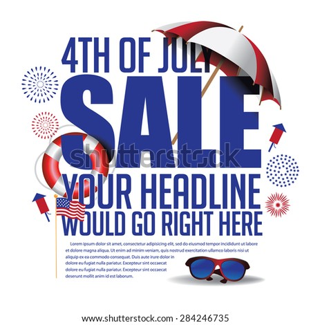 4th of July sale marketing template. EPS 10 vector. - stock vector
