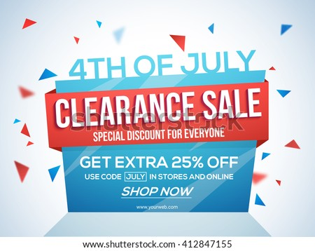 4th of July Sale Tag, Clearance Sale Paper Banner, Sale Flyer, Special Discount Offer, 25% Off. Vector illustration for American Independence Day celebration. - stock vector