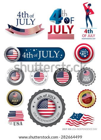 4th of July Seal Collection, American Flag Icons, USA independence day (Vector Art) - stock vector