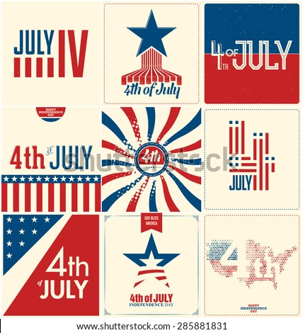 4th of July - Set of Nine Designs - Independence Day in the United States of America - stock vector