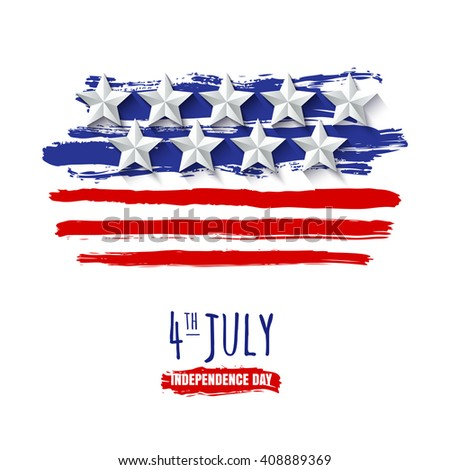 4th of July, USA Independence Day. Vector watercolor background with 3d paper stars. Watercolor USA flag, isolated on white background. Design for greeting card, holiday banner, flyer, poster.  - stock vector