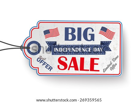 4th of july with price sticker on the white background. Eps 10 vector file. - stock vector