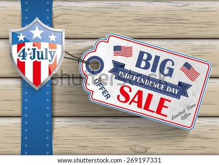 4th of july with price sticker on the wooden background. Eps 10 vector file.