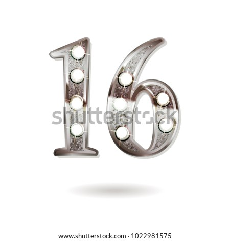 16th silver anniversary logo, ten years birthday celebration solated on white background