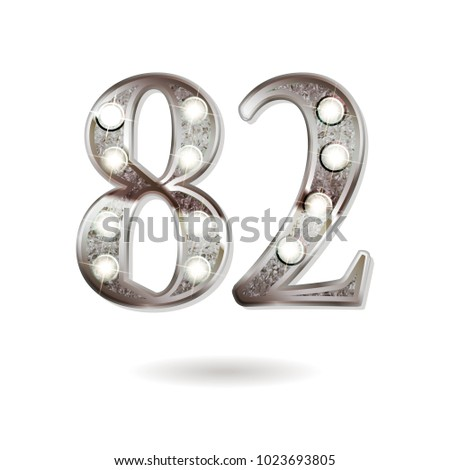 82th silver anniversary logo, ten years birthday celebration solated on white background