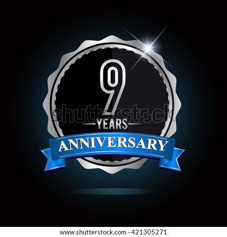 9th silver anniversary logo, 9 years anniversary celebration with blue ribbon. - stock vector