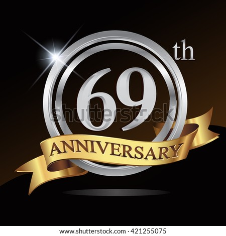 69th silver anniversary logo, 69 years anniversary celebration with ring and golden ribbon.