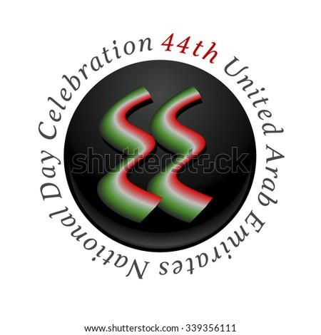 '44th United Arab Emirates National Day Celebration' logo unit. Number '44' written in arabic script. - stock vector