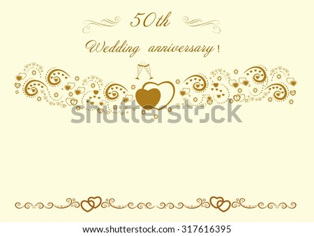 Wedding anniversary invitation stock images royalty free images 50th wedding anniversary invitationautiful editable vector illustration stopboris Choice Image