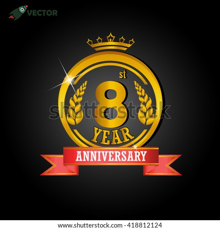 8th year anniversary celebration label sign stock vector royalty