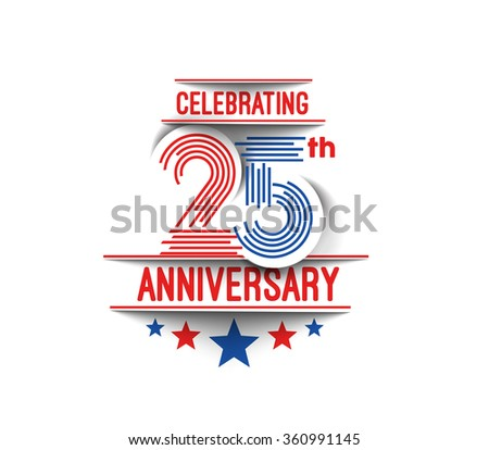 25th Years Anniversary Celebration Design.  - stock vector