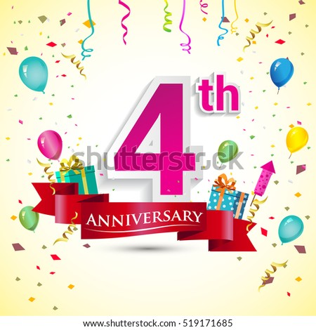 4th Years Anniversary Celebration Design With Gift Box And Balloons Red Ribbon Colorful