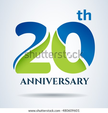 20th Years Anniversary Label Sign Vector Stock Vector 480609601