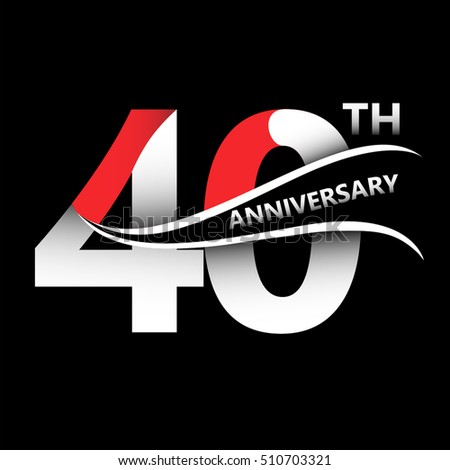 40th years anniversary sign logo on stock vector royalty free