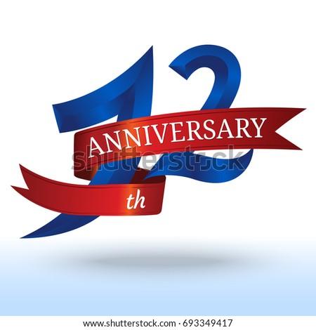 12 Th Years Anniversary Symbol Vector Stock Vector 693349417