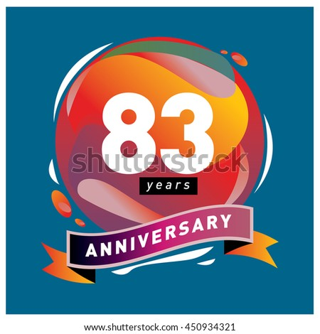 83th years greeting card anniversary with colorful number and frame. logo and icon with circle badge and background